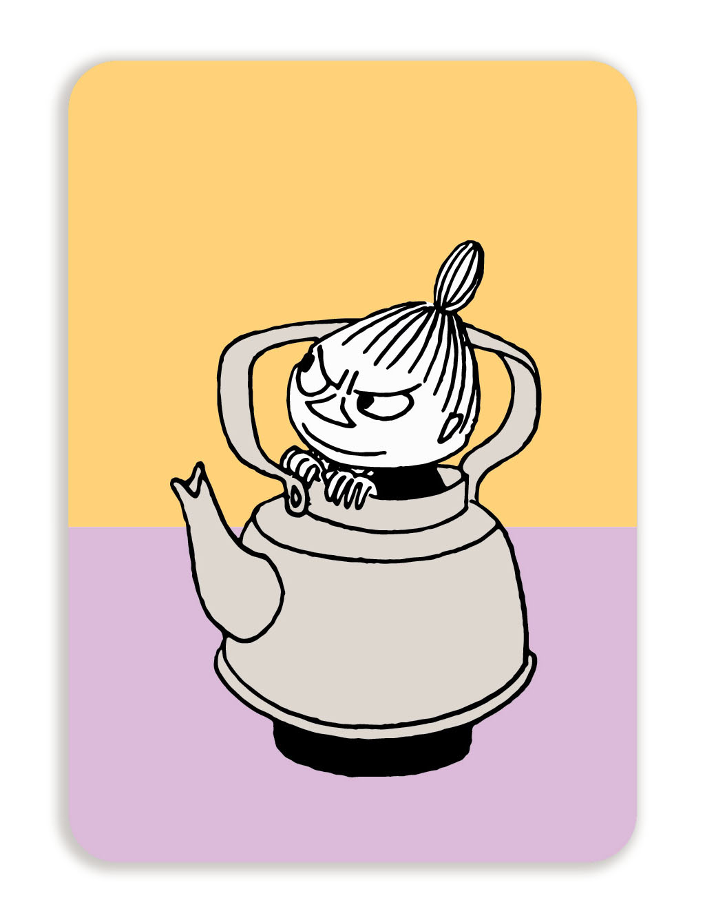 Putinki Postcard with rounded corners Little My in a coffee pot