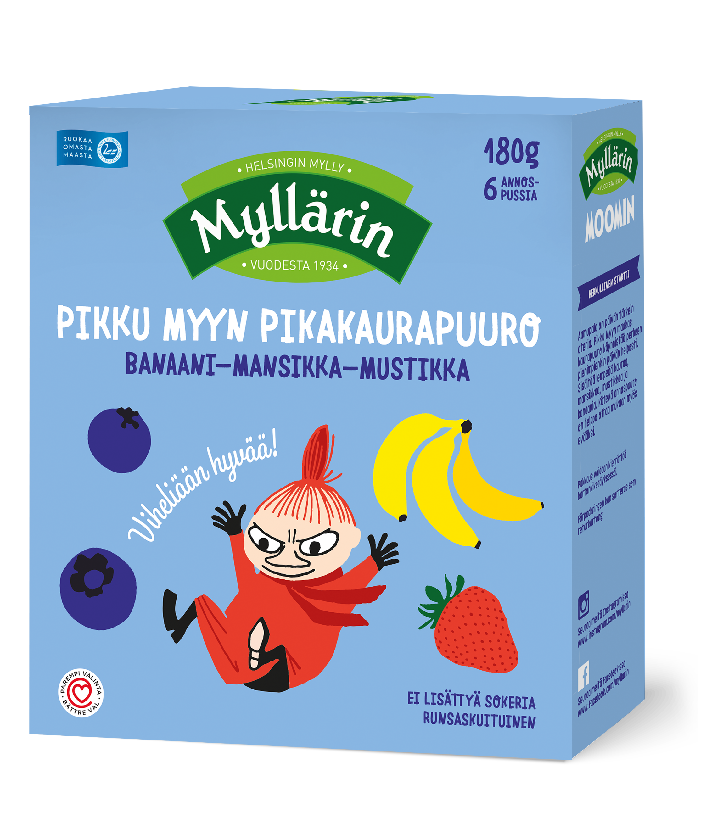Myllarin Little My's Instant Oat Porridge Banana-Strawberry-Blueberry 6 x 30 g