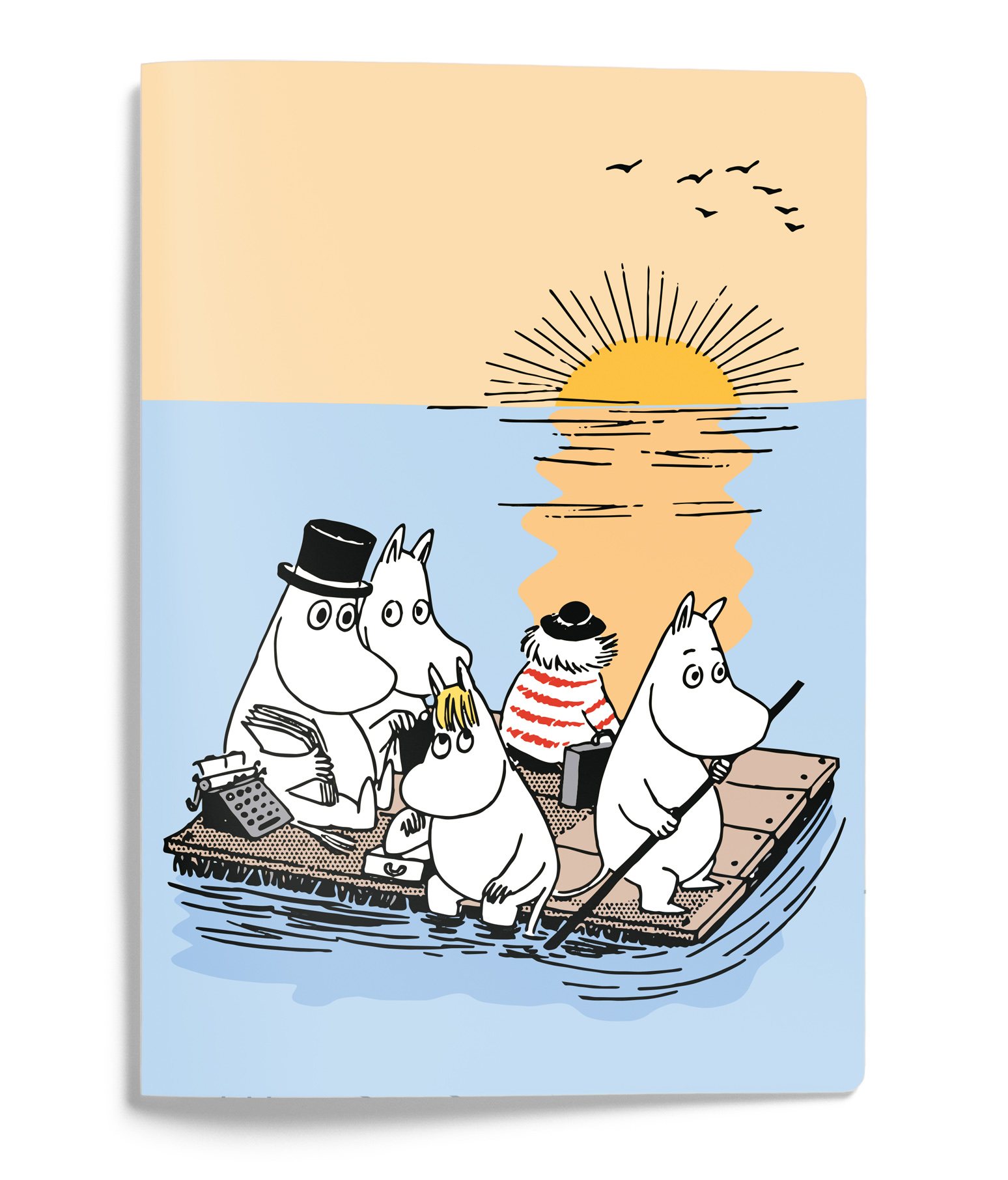 Putinki Softcover Notebook A5 Moomins on a raft