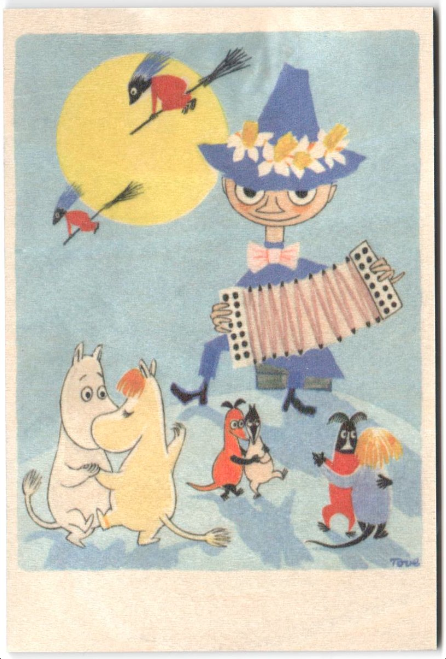 Come to Finland wooden Moomin Easter card - witches