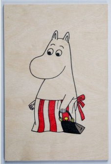 Come to Finland Moominmamma wooden postcard