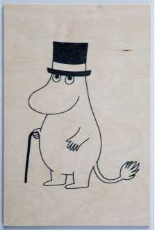 Come to Finland Moominpappa wooden postcard
