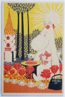 Come to Finland Berries Moominmamma wooden postcard