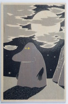 Come to Finland The Groke in moonlight wooden postcard