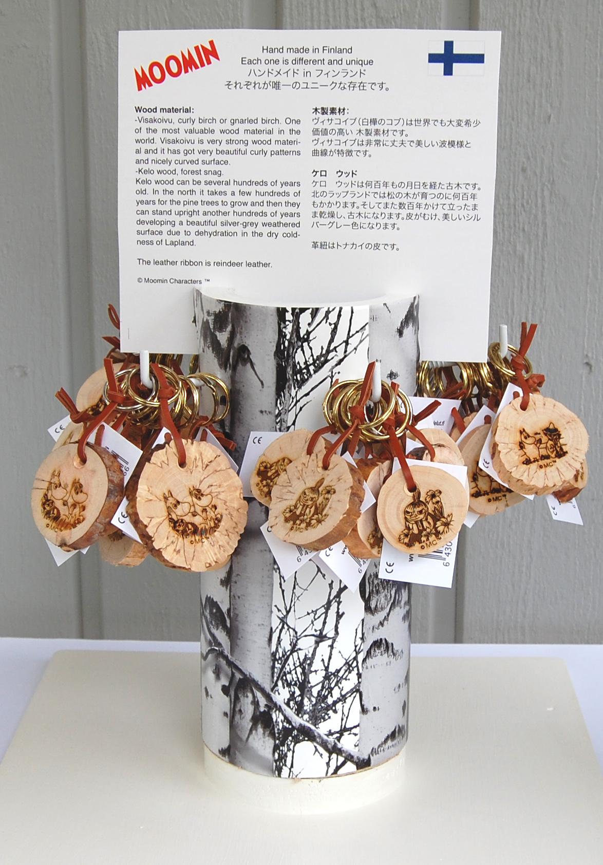 Isoisän Puulelut Display for the new Moomin key rings