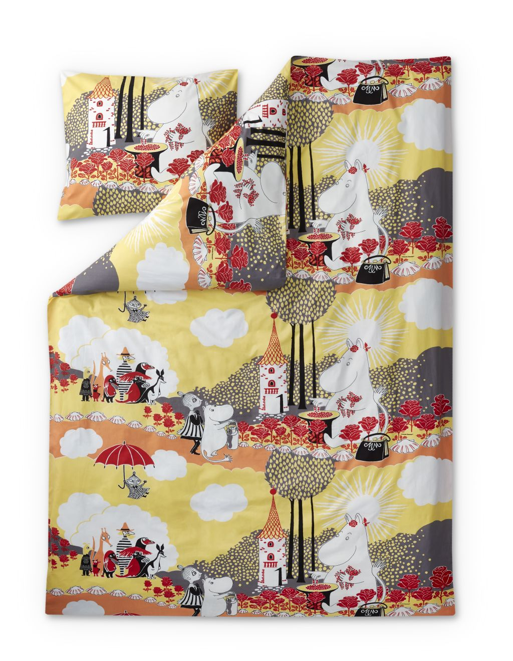 Finlayson DUVET COVER +  PILLOWCASE ROSE MOOMIN YELLOW 120X160+40X60