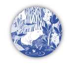OPTO Tove Nordic glass coaster Sleeping Moomin