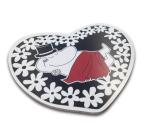 OPTO Pot Coaster Shaped -Heart Moomin Papa Black