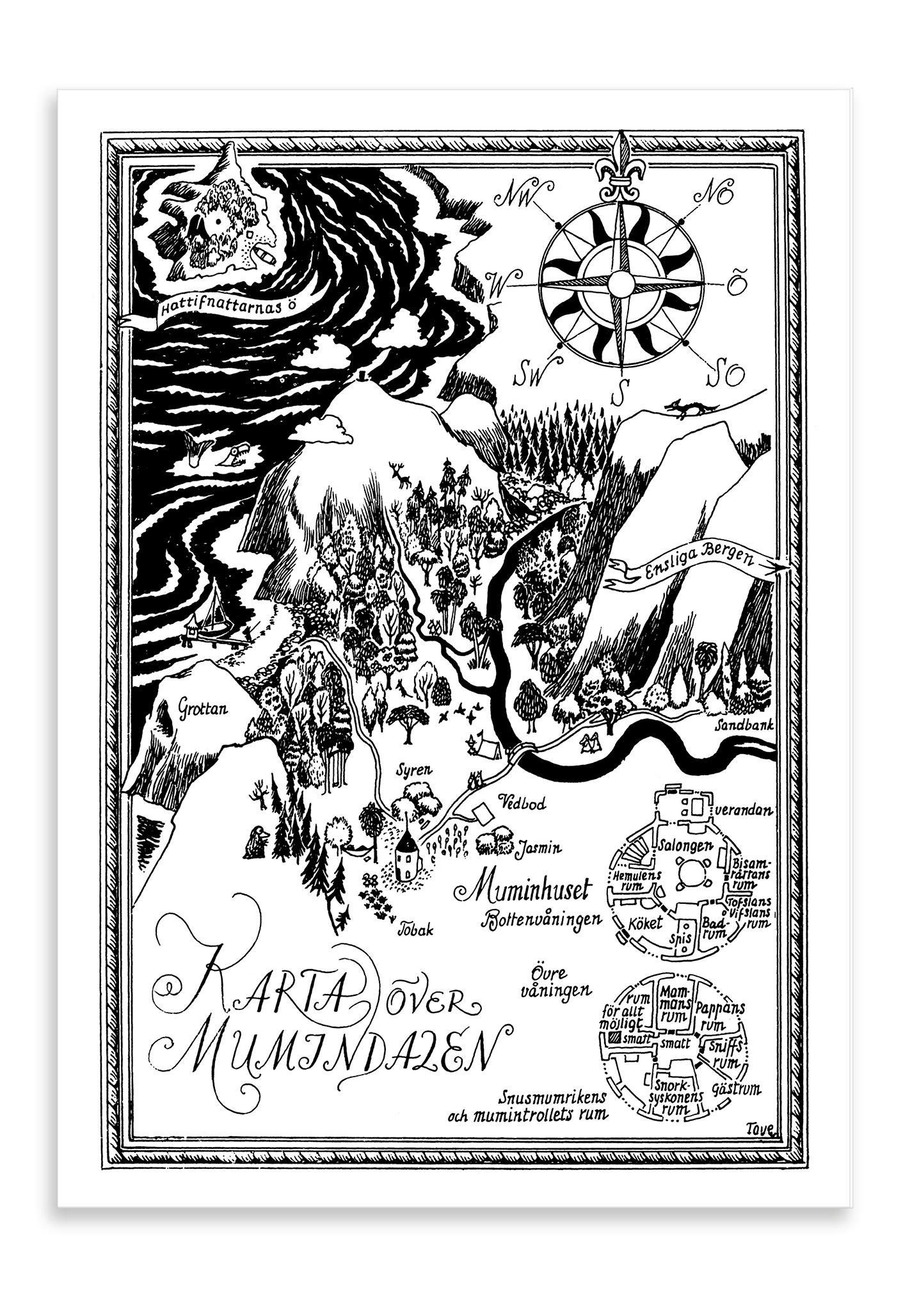 Putinki Postcard Karta över Mumindalen