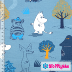 Stofflykke - Forest Walk Blue - Jersey fabric